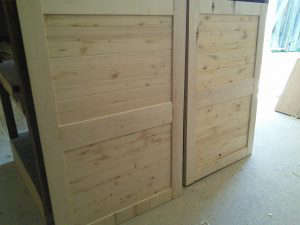 Cabinet doors before stain.