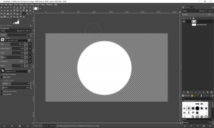 Screenshot of a transparent layer in GIMP, with a circular object filled with colour in the middle.